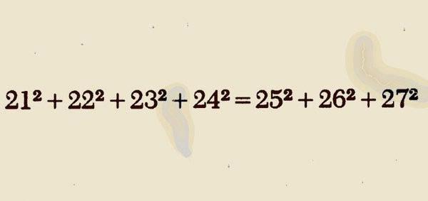 21² + 22² + 23² + 24² = 25² + 26² + 27²