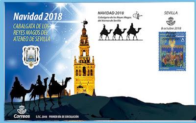 Navidad 2018 - España  - Sobre Primer día de circulación - Cabalgata de Sevilla