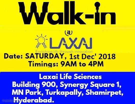 LAXAI Life Sciences Walk In Interview at 1 December