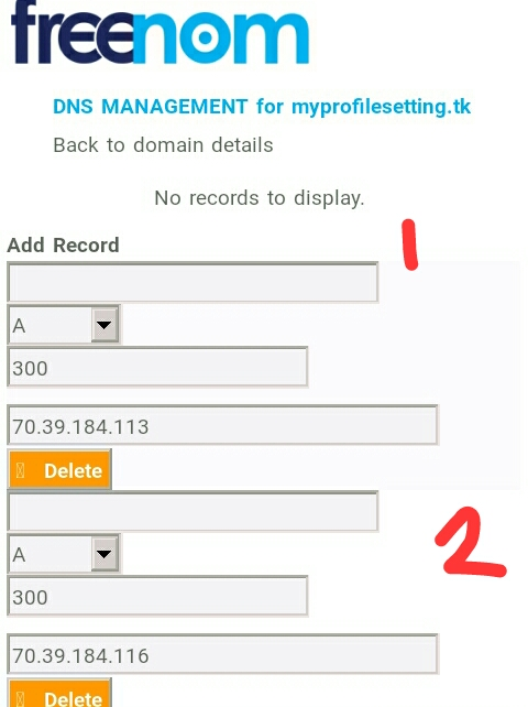 How to make wapka new domain work on all browser without cloudfare, DNS record on freenom