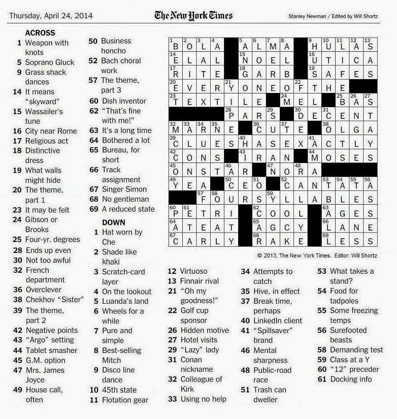 The New York Times Crossword in Gothic: April 2014