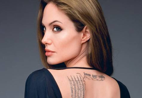 Angelina Jolie and her new tattoo for Brad