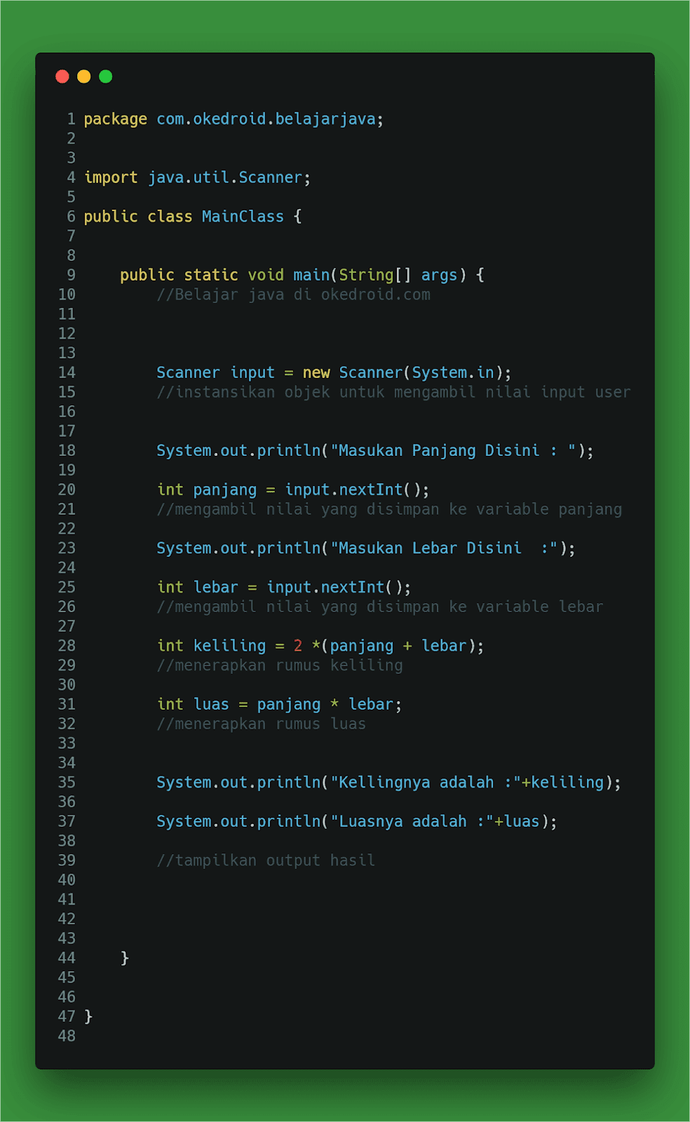 Contoh Code Program Mencari Menghitung Rumus Luas dan Keliling di Java