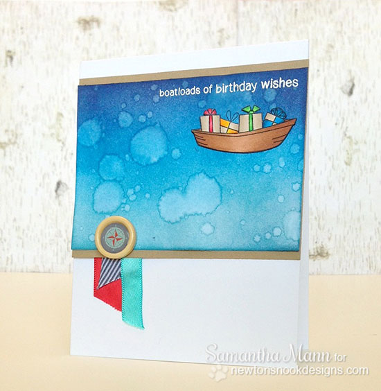 Birthday Boat Card by Samantha Mann for Newton's Nook Designs | SEAson's Greetings Stamp set