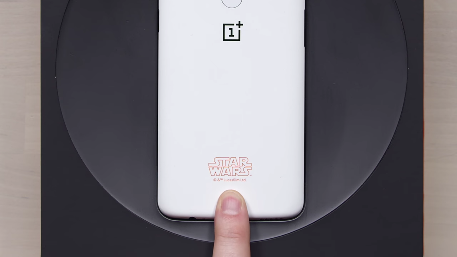 The Starwars logo on the OnePlus 5T smart phone