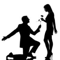 Γονατιστός άντρας, προσφέρει λουλούδι σε γυναίκα.