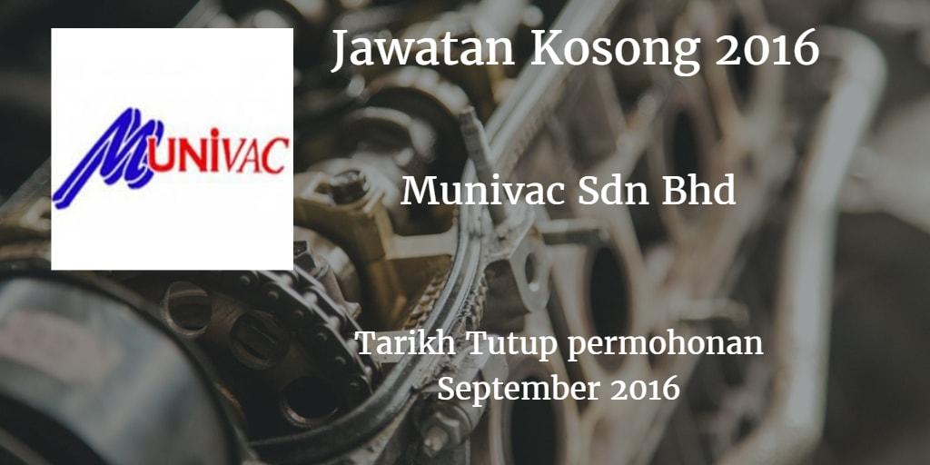 Jawatan Kosong Munivac Sdn Bhd September 2016