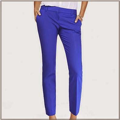 Ladies Blue Ankle Pants