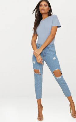 LIGHT WASH OPEN KNEE RAW HEM STRAIGHT LEG JEAN