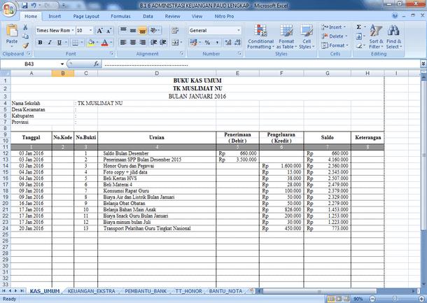 Contoh Format Buku Administrasi Keuangan PAUD TK RA Lengkap
