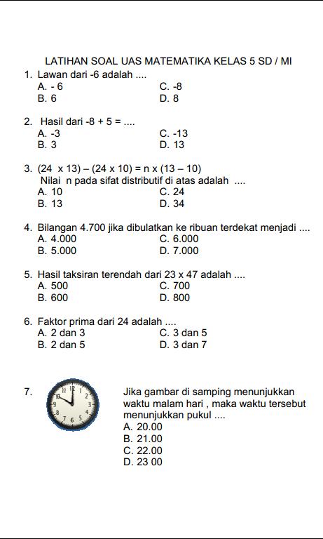 Soal Matematika Kelas 5 Sd Dan Penyelesaiannya : matematika, kelas, penyelesaiannya, KUNCI, JAWABAN, MATEMATIKA, KELAS, SD/MI, SEMESTER, GANJIL, SERBA, SERBI