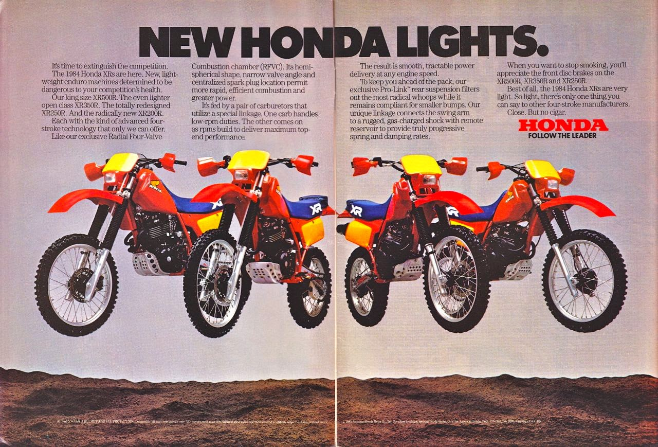 Vintage Brochures Honda XR Series 1984 Usa