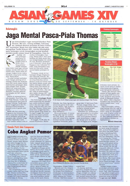 ASIAN GAMES XIV BUSAN: BULUTANGKIS JAGA MENTAL PASCA-PIALA THOMAS