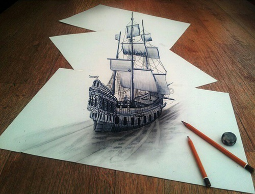 optical-illusion-3D-ship-drawing-on-paper