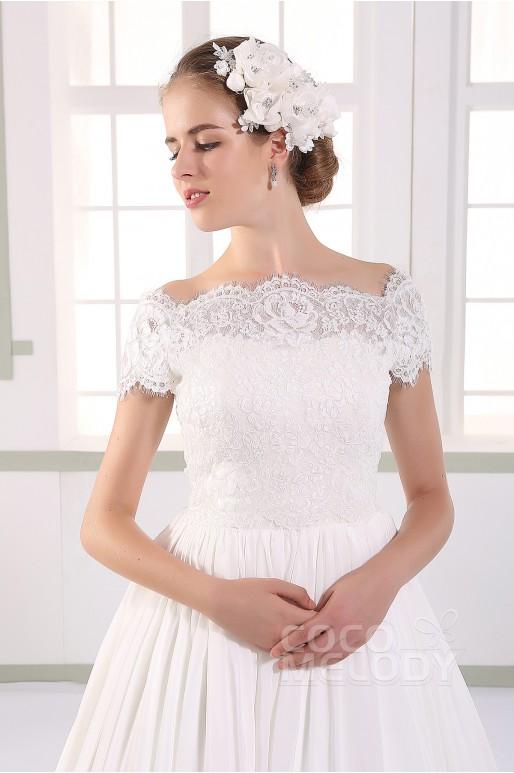 Dramatic A-line Natural Train Chiffon Ivory Zipper Wedding Dress