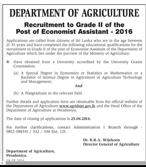 Economist Assistant - Department of Agriculture - Job
