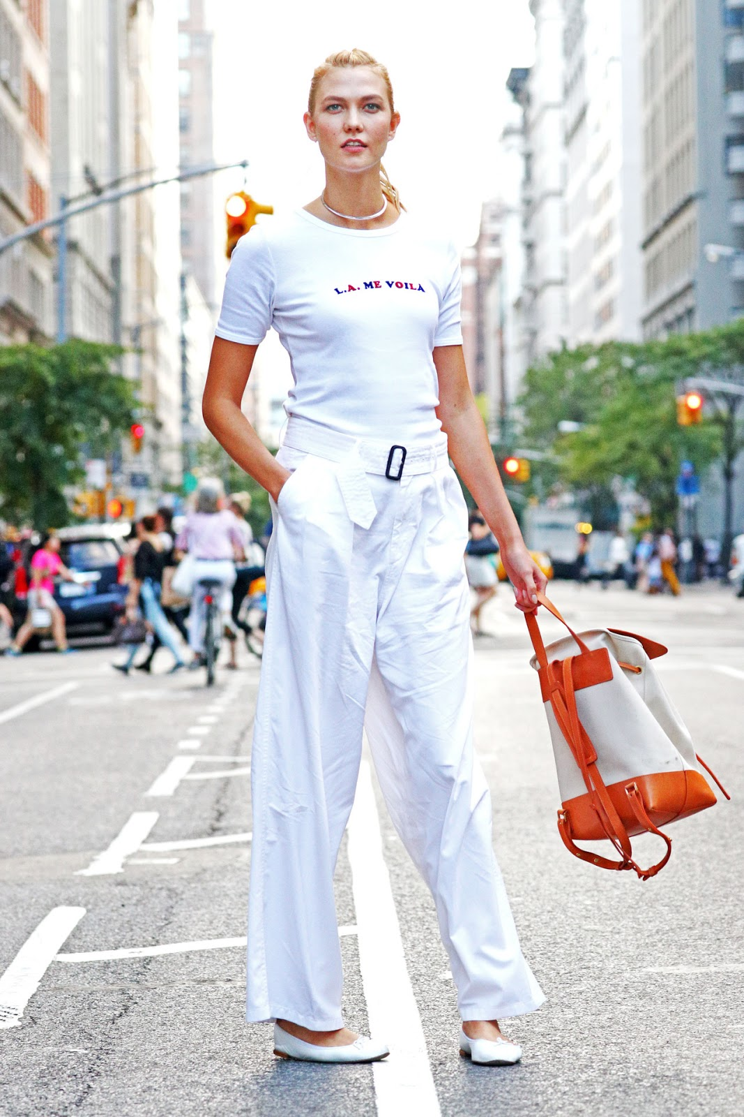 Karlie Kloss Wears All White in NYC