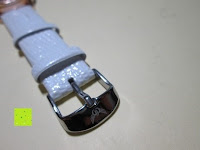 Verschluss: Ostan Damen Uhren Mode Weiß Leder Runde Zifferblatt mit Zirkonia Armkette Armband Armbanduhr Uhr