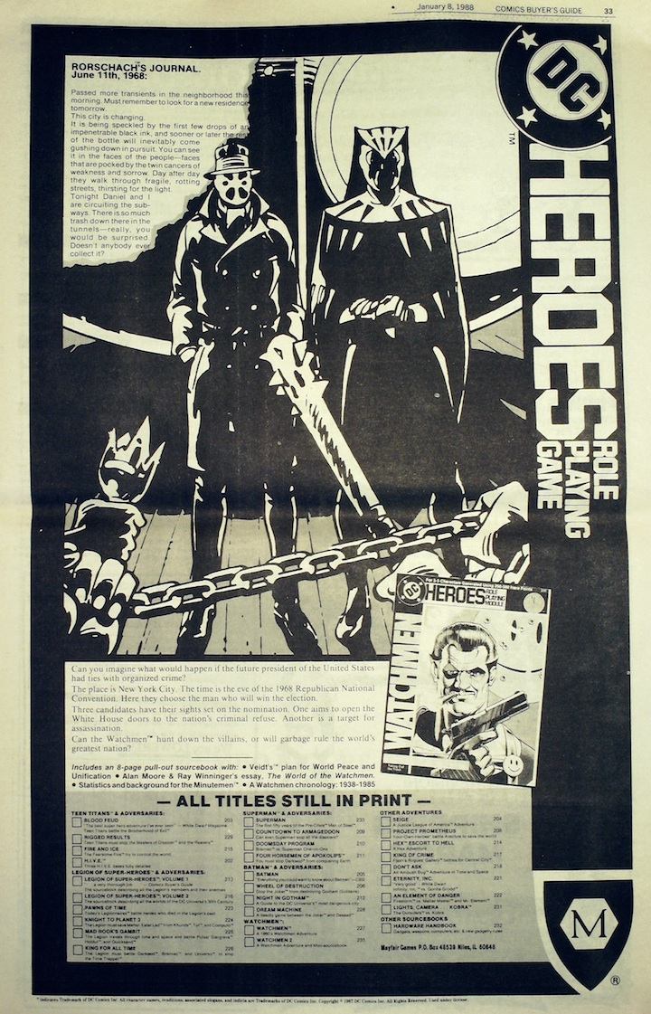 today in comics history comics buyer s guide jan  rounding out the issue was an ad for the watchmen role playing game from fair games the watchmen series hadn t ended that long before