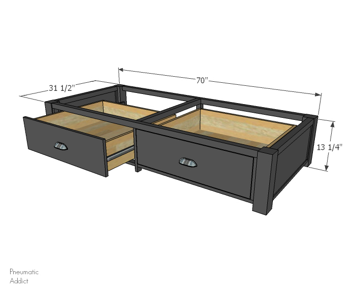 i provided the measurements for my specific couch and base but this design could be modified to fit many different styles of futon  just adjust the width     pneumatic addict   how to build a futon base with storage drawers  rh   pneumaticaddict