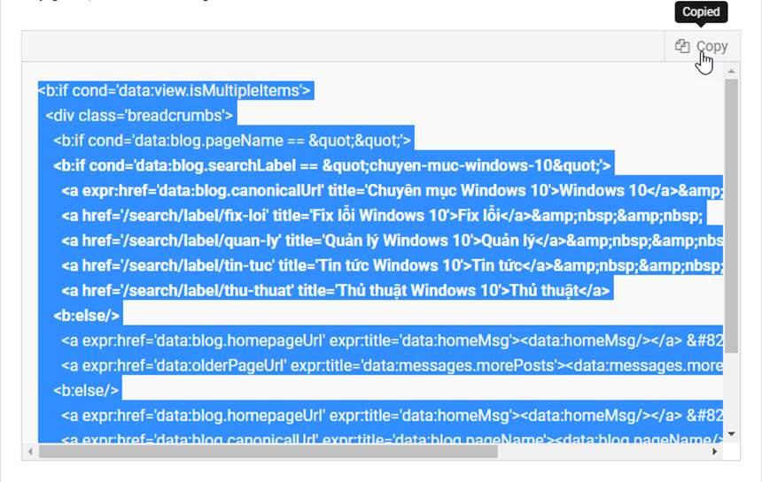 Hướng dẫn tạo khung chứa code kèm nút copy vào bài viết