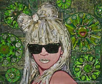 Collage creativo con rostro de famoso