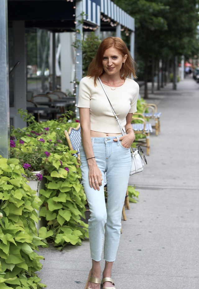 Coping with Loss-- Joe's Jeans light denim, Forever 21 beige ribbed crop top, Rebecca Minkoff  white bucket bag, Old Navy gold sandals