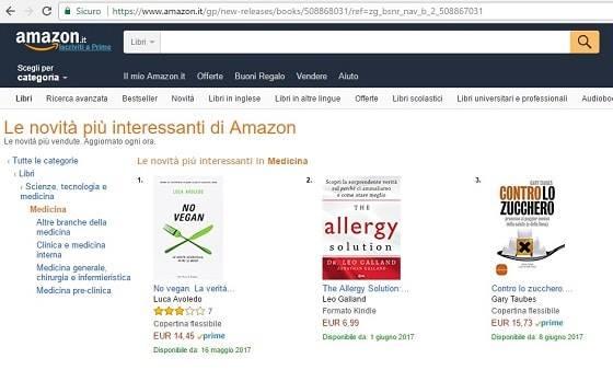 Il libro No Vegan è in classifica su Amazon