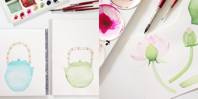 watercolor, watercolor painting, painting, paint palette, lotus, teapots, Anne Butera, My Giant Strawberry