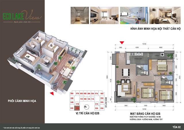 Thiết kế căn hộ 02B tòa HH2 chung cư ECO LAKE VIEW