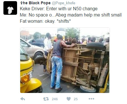 See what they're saying plus-sized woman did to keke tricycle
