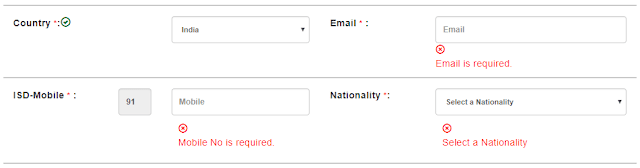 picture of country, email, mobile and nationality options of personal details section