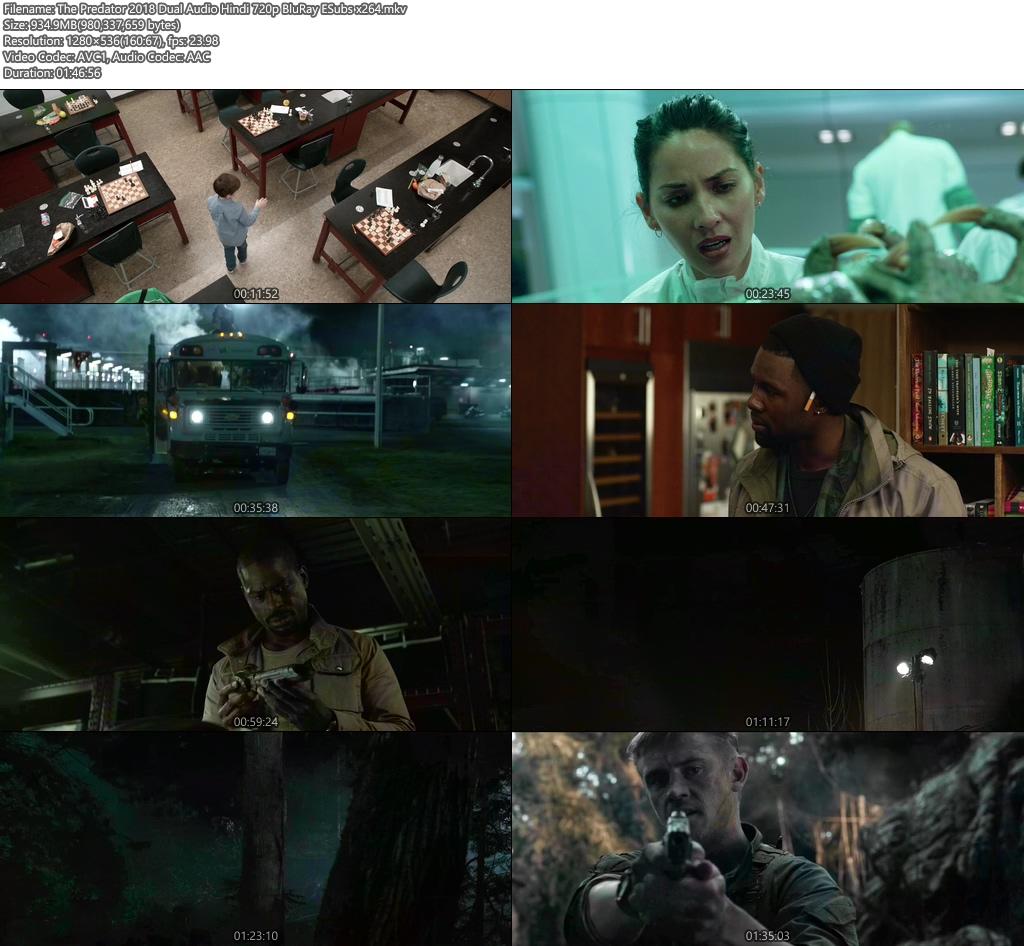 The Predator 2018 Dual Audio Hindi 720p BluRay ESubs x264   480p 300MB   100MB HEVC Screenshot