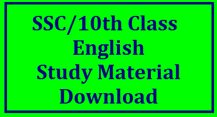 SSC/10th Study Material for English Download SSC/10th Study Material for English Paper-I and II Download | Useful Study material for SSC Students on English Paper 1 and 2 Download here | Important 10th class Study Material for English Paper I and II to score Good Marks | Suggestive Study Material for SSC/10th for Public Examinations March 2017 Download here ssc-10th-study-material-for-english-paper-I-II-download/2017/11/ssc10th-study-material-for-english.html