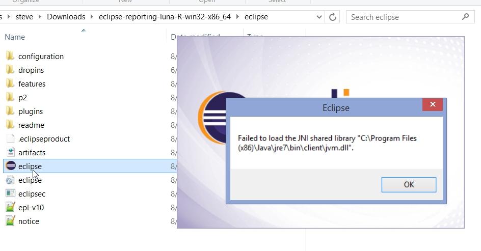 Installing BIRT Designer on Windows - Java Runtime Error and