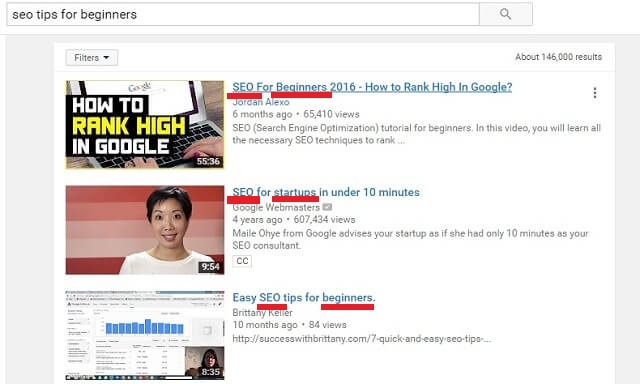 "Top 3 YouTube search results for ""SEO tips for beginners"""