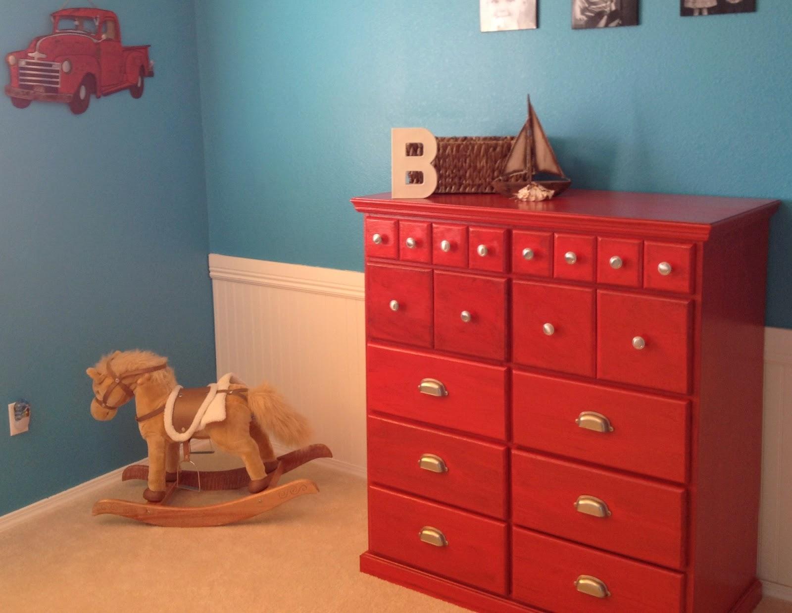Boy S Room Makeover With Red Glazed Dresser