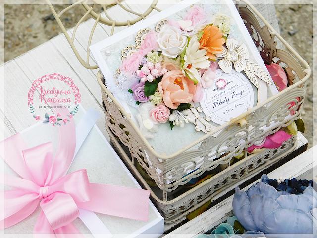 kwiatowa kartka ślubna, scrapbooking, handmade