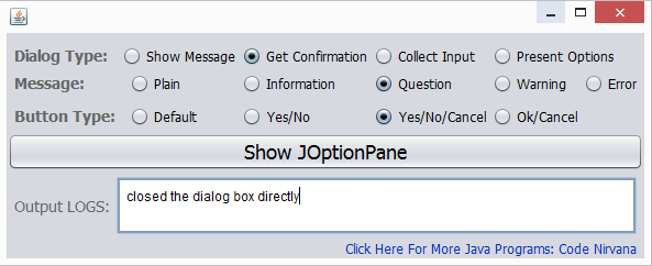 JOptionPane in java output image
