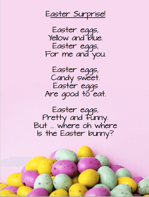 Easter poem for young children. Freebie from GradeONEderful.com