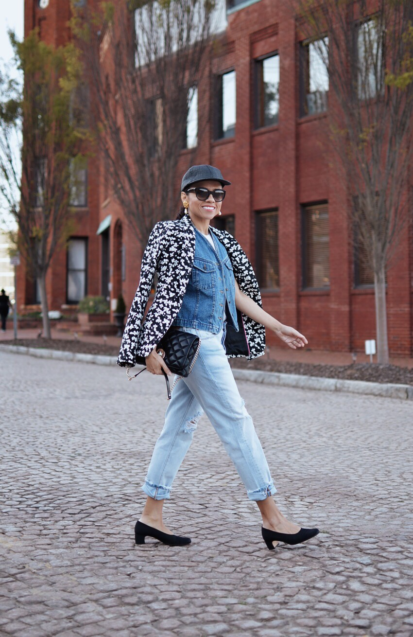 Light wash denim street style
