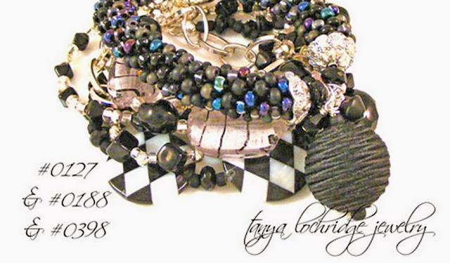 Tanya Lochridge Jewelry Pink & Black Lampwork Bead Bracelet