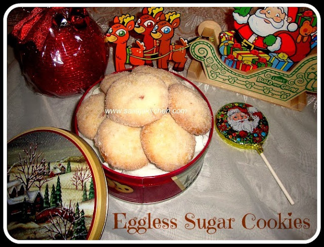 image of Eggless Sugar Cookies Recipe / Easy Sugar Cookies Recipe / Sugar Cookies Recipe