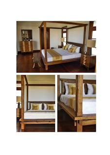 Tempat tidur para bangsawan yang menawan terbuat dari kayu jati