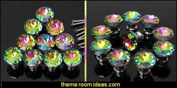 Colorful Crystal Glass Cupboard Wardrobe Cabinet Drawer Knob Door Pull Handle