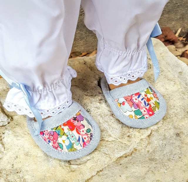 Patchwork doll slippers for American Girl doll by Heidi Staples of Fabric Mutt