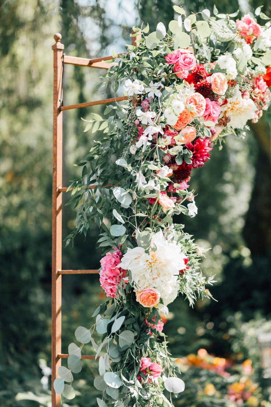 Floral Wedding Altar-Garden Wedding-Kiana Lodge-Something Minted Photography