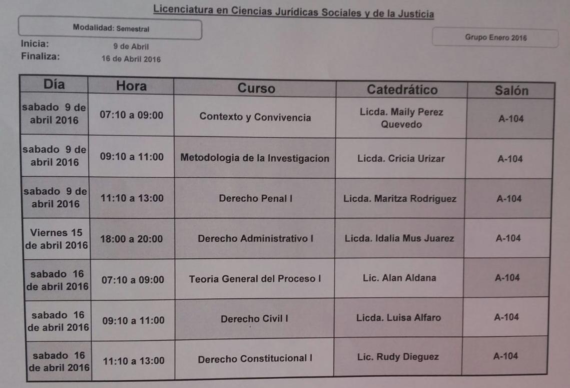 Calendario Examenes Derecho Us.Cohorte 2015 Derecho Upana Alamos Calendario De Examenes