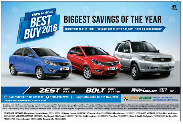 Tata Cars - 100 % on road funding with exchange bonus and other benefits | December 2016 festival discount offers | Zero down payment | Christmas offers