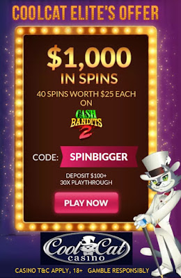 SPINBIGGER Bonus Coupon from Cool Cat Casino: get 40 Free Spins worth $1,000